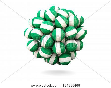 Pile Of Footballs With Flag Of Nigeria