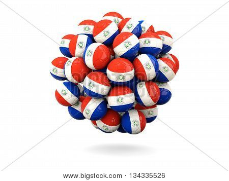 Pile Of Footballs With Flag Of Paraguay