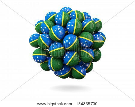 Pile Of Footballs With Flag Of Solomon Islands