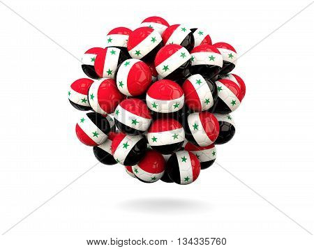 Pile Of Footballs With Flag Of Syria