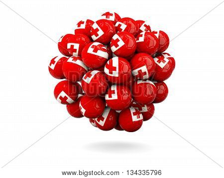 Pile Of Footballs With Flag Of Tonga