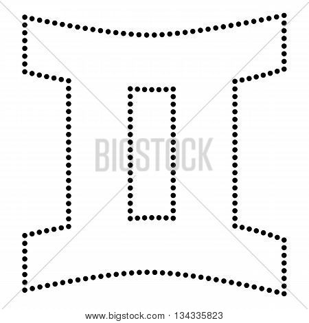 Gemini sign. Dot style or bullet style icon on white.