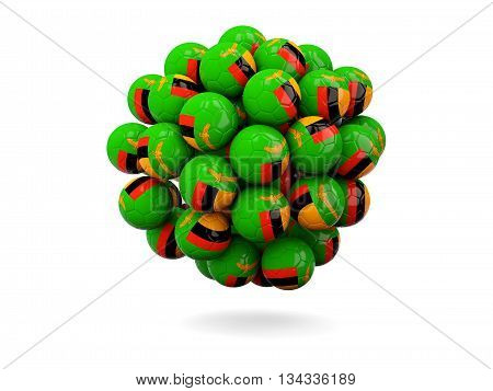 Pile Of Footballs With Flag Of Zambia