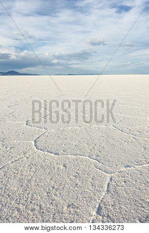 Vertical perspective of white Salt Flats near Salt Lake City, Utah