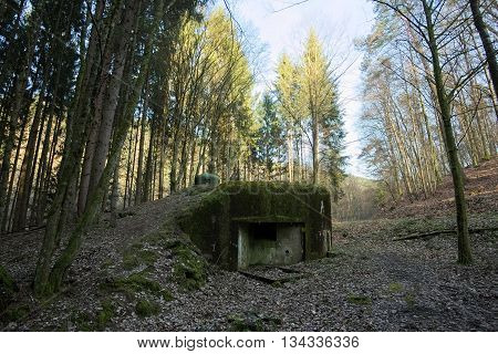 French Bunker Ruin Near Langensoultzbach, Vosges, France. It Was Built Before Wwii As Part Of The Ma