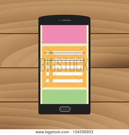 reminder checklist to do on the smartphone sticky notes vector graphic illustration