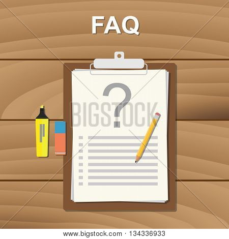 faq frequently aksed question checklist note on clipboard vector graphic illustration
