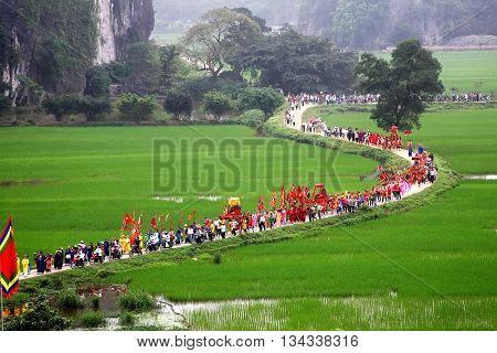 Ninh Binh, Vietnam, April 14, 2016 the delegation of participants, the procession, the traditional festival Thai Vi Temple, Ninh Binh Province, Vietnam