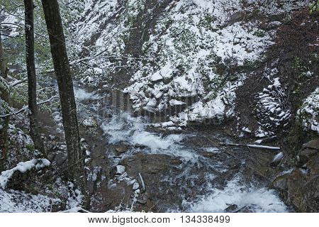 River in mountains at wintertime