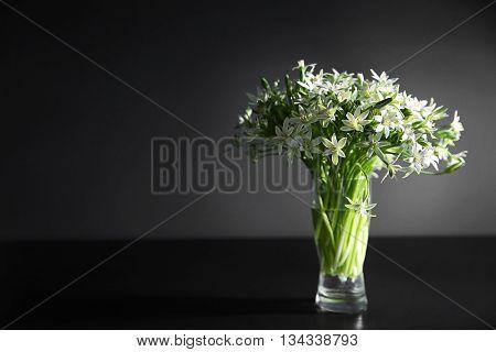 Bouquet of little white flowers on dark background