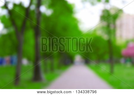 Blur walkway through grass field in the park background