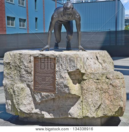 VANCOUVER BC CANADA JUNE 27 2015: Statue of Percy Williams, runner, outside BC Place Stadium. Winner of the 100 m and 200 m races at the 1928 Summer in Amsterdam Netherlands.
