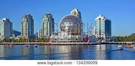 VANCOUVER BC CANADA JUNE 15 2015: Science World at Telus World of Science. It has many interactive science exhibits and displays, and popular attraction in Vancouver