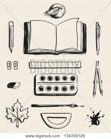 Set School office supplies top view. Open book, apple, pen, watercolor paints, eraser, maple leaf, compass, blot, protractor, ruler, ballpoint pen and brush. Illustration in vector format