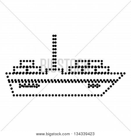 Ship sign illustration. Dot style or bullet style icon on white.