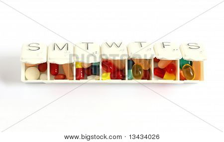 Seven Day Pill Box With Pills