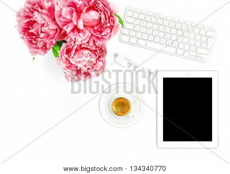 Digital Tablet PC Keyboard Cup of Coffee. Home office workplace business woman. Flat lay for social media blogger