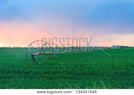 Irrigation Wheels at farmlands, Utah, United States