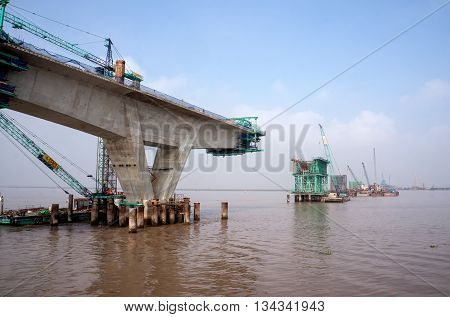 HAI PHONG, VIETNAM, June 11, 2016 cable-stayed bridge, which connects the city of Haiphong to Cat Ba island, Vietnam, being the Japanese architect, construction