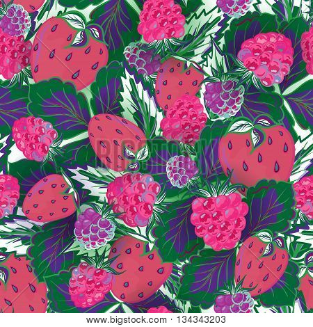 seamless pattern with hand drawing summer berries. Strawberry and raspberry. Vector illustration. Violet pink green background.
