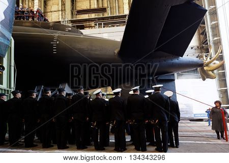 ST. PETERSBURG, RUSSIA - MAY 31, 2016: Crew during the ceremony of launching the submarine Kolpino in the Admiralty Shipyard. The submarine will be included in the Black Sea Fleet