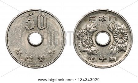 Fifty Japanese Yen Coin Front And Back Faces