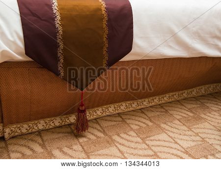 bottom of a bed in a hotel room