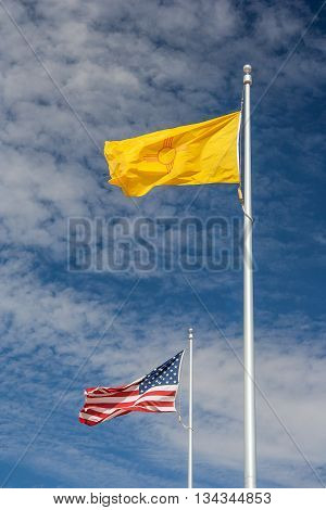 Flags Of Navajo Nation And United States At Four Corners Monument,  Usa