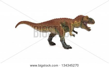 side view tyrannosaurus opening the mouth on a white background