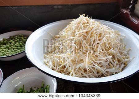Close up of Bean Sprouts ready to cook
