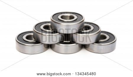 bearings stack up on white background with clipping path