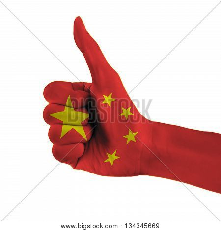 China Flag Painted Hand Showing Thumbs Up Sign On Isolated White Background With Clipping Path