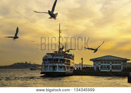 Istanbul Turkey - February 2 2014: Sea of Marmara the Bosphorus in the evening. sunset seagulls and people. Istanbul Besiktas pier appears.