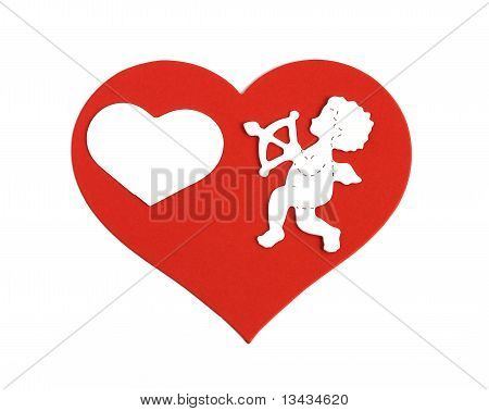 White Cupid On Large Red Heart