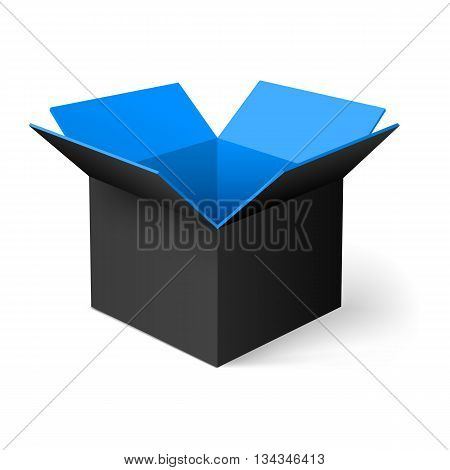Black opened square box with blue color inside