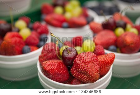 Mix fruit in a basket on markets