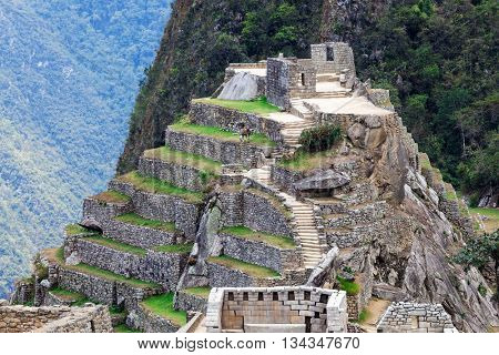 old ruins and terraces in Machu Picchu