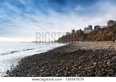 pebble beach of the Pacific Ocean, Lima, Peru