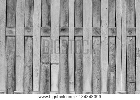Close up bamboo fence with black and white tone, stock photo