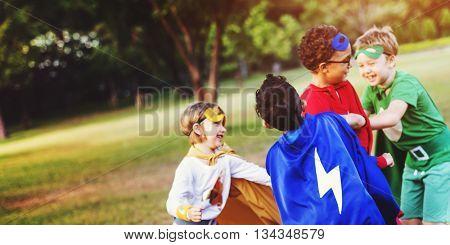 Superman Kid Playing Fun Cheerful Concept