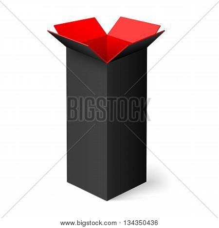 Black opened rectangular box with red color inside