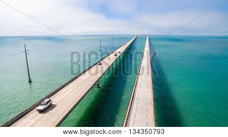 Seven Miles bridge. Florida Keys. Aerial photo