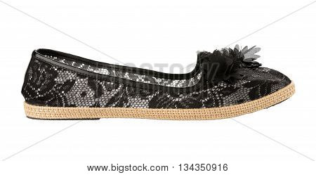 shoes with black floral pattern isolated on a white background