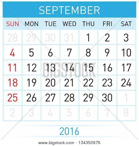 September Twenty-Sixteen. Calendar Month. Illustration on white background