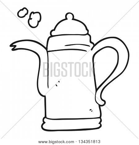 freehand drawn black and white cartoon coffee kettle