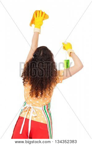 Housewife with rag and cleaning spray for window, isolated on white background