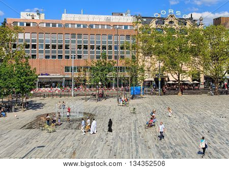 Zurich, Switzerland - 30 July, 2015: view on Sechselautenplatz square. Sechselautenplatz is a town square in Zurich, it is the largest one within the city. It takes its name from the Sechselauten - the city's traditional spring holiday.