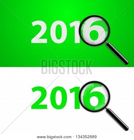 Numerals 2016 with magnifying glass in white and green