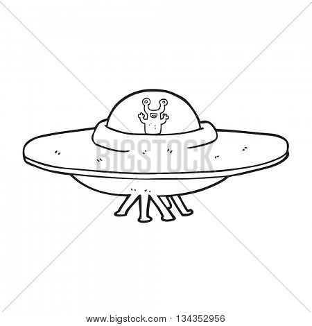 freehand drawn black and white cartoon alien spaceship