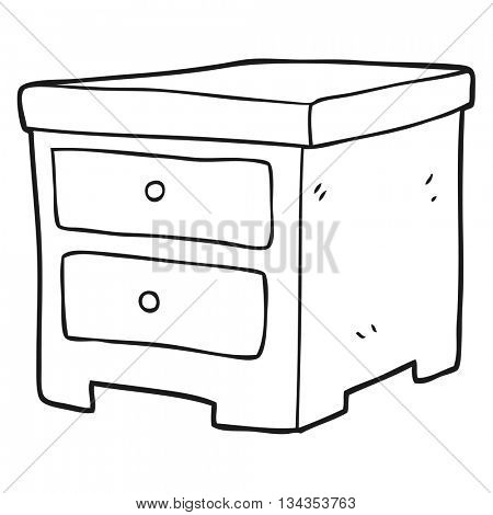 freehand drawn black and white cartoon chest of drawers